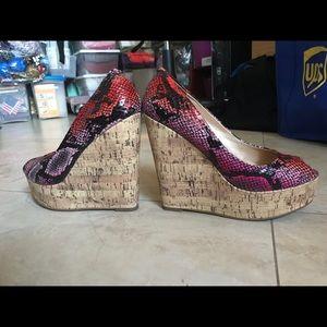 Pink + Purple Snakeskin + Cork Platform Wedges